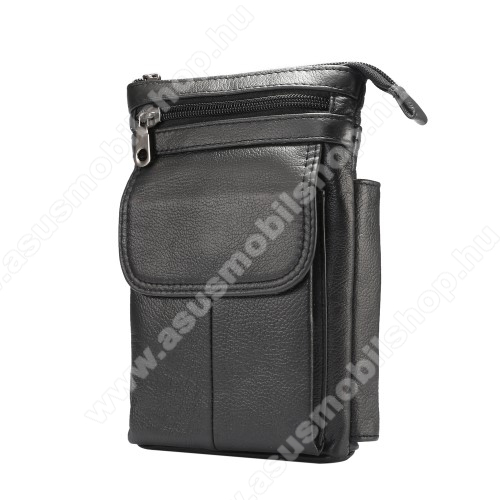 ASUS A716UNIVERZÁLIS tok - FEKETE - valódi bőr, álló, zipzár, több fakkos, mágnespatent, állítható vállpánt 150cm hosszú, tolltartó, karabíner, övre fűzhető - 130 x 180 x 30 mm