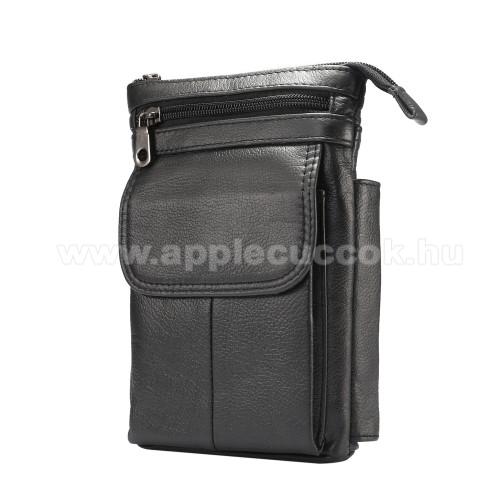APPLE iPhone XS MaxUNIVERZÁLIS tok - FEKETE - valódi bőr, álló, zipzár, több fakkos, mágnespatent, állítható vállpánt 150cm hosszú, tolltartó, karabíner, övre fűzhető - 130 x 180 x 30 mm