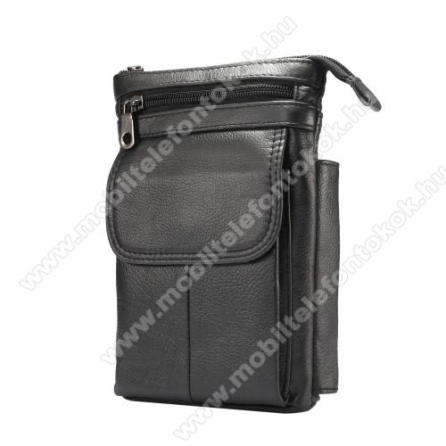 UNIVERZÁLIS tok - FEKETE - valódi bőr, álló, zipzár, több fakkos, mágnespatent, állítható vállpánt 150cm hosszú, tolltartó, karabíner, övre fűzhető - 130 x 180 x 30 mm