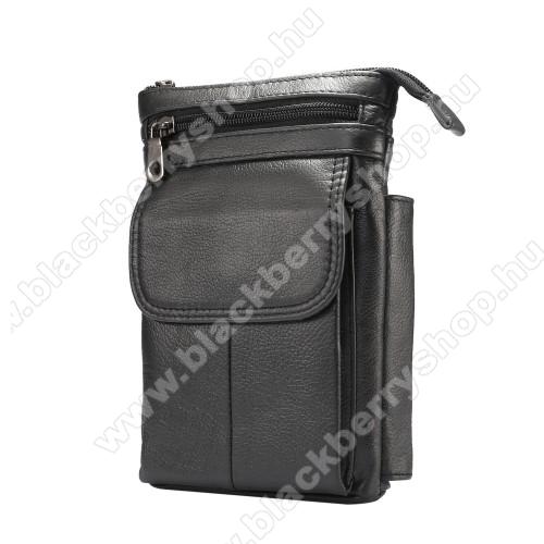 BLACKBERRY LeapUNIVERZÁLIS tok - FEKETE - valódi bőr, álló, zipzár, több fakkos, mágnespatent, állítható vállpánt 150cm hosszú, tolltartó, karabíner, övre fűzhető - 130 x 180 x 30 mm