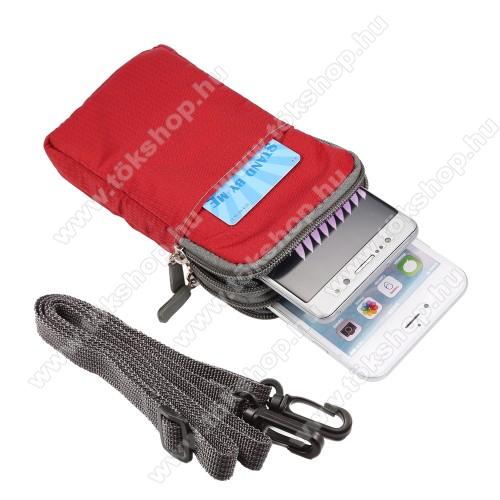 Vodafone VPA IV (HTC Universal)UNIVERZÁLIS tok - PIROS - álló, cipzár, több fakkos, karabíner, övre fűzhető, heveder - 165 x 90 x 30 mm
