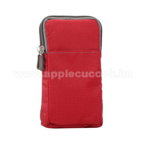 APPLE iPhone XS MaxUNIVERZÁLIS tok - PIROS - álló, zipzár, több fakkos, karabíner, övre fűzhető, hevederrel - 180 x 100 x 35 mm - 6,3-6,9