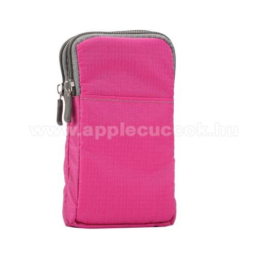 APPLE iPhone XS MaxUNIVERZÁLIS tok - RÓZSASZÍN - álló, zipzár, több fakkos, karabíner, övre fűzhető, hevederrel - 180 x 100 x 35 mm - 6,3-6,9