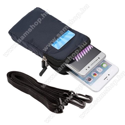 SAMSUNG GT-I9100 Galaxy S IIUNIVERZÁLIS tok - SÖTÉTKÉK - álló, cipzár, több fakkos, karabíner, övre fűzhető, heveder - 165 x 90 x 30 mm