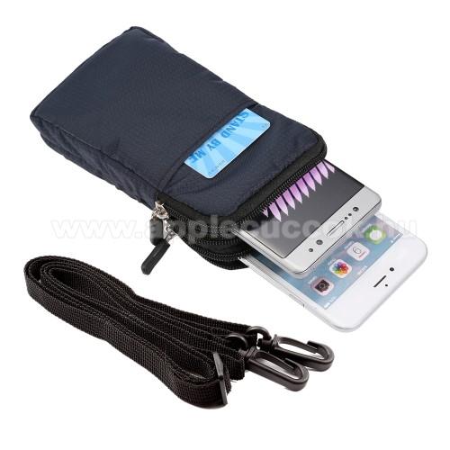 APPLE iPhone 11 ProUNIVERZÁLIS tok - SÖTÉTKÉK - álló, cipzár, több fakkos, karabíner, övre fűzhető, heveder - 165 x 90 x 30 mm