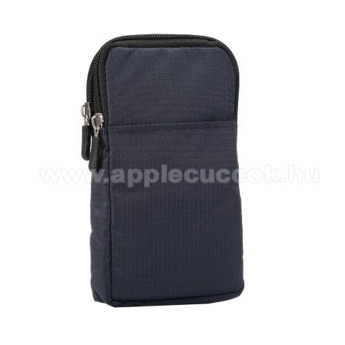 APPLE iPhone XS MaxUNIVERZÁLIS tok - SÖTÉTKÉK - álló, zipzár, több fakkos, karabíner, övre fűzhető, hevederrel - 180 x 100 x 35 mm - 6,3-6,9