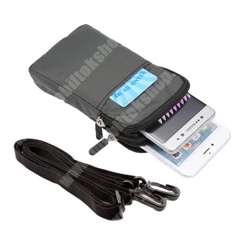 Elephone P3000 UNIVERZÁLIS tok - SÖTÉTSZÜRKE - álló, cipzár, több fakkos, karabíner, övre fűzhető, heveder - 165 x 90 x 30 mm