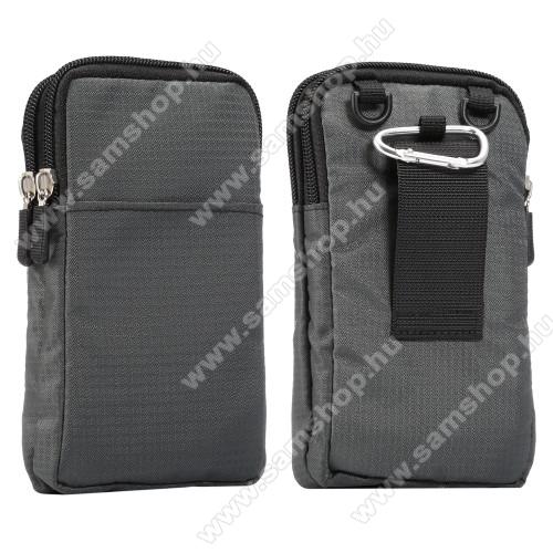 SAMSUNG Galaxy Note9 (SM-N960F/U/X)UNIVERZÁLIS tok - SÖTÉTSZÜRKE - álló, zipzár, több fakkos, karabíner, övre fűzhető, hevederrel - 180 x 100 x 35 mm