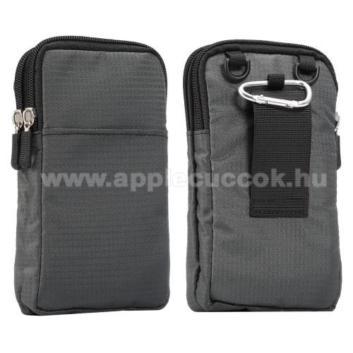 APPLE iPhone XS MaxUNIVERZÁLIS tok - SÖTÉTSZÜRKE - álló, zipzár, több fakkos, karabíner, övre fűzhető, hevederrel - 180 x 100 x 35 mm - 6,3-6,9