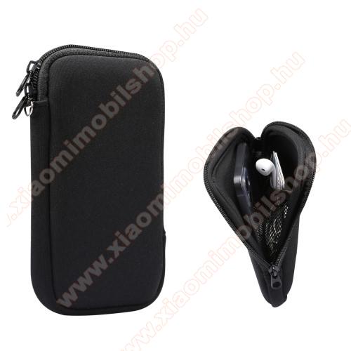 UNIVERZÁLIS tok / táska - FEKETE - neoprén szövet, cseppálló, hálós zseb, cipzár, nyakba akasztható - belső méret: 155 x 80 x 18 mm