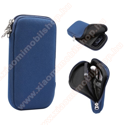 UNIVERZÁLIS tok / táska - KÉK - neoprén szövet, cseppálló, hálós zseb, cipzár, nyakba akasztható - belső méret: 175 x 90 x 18 mm
