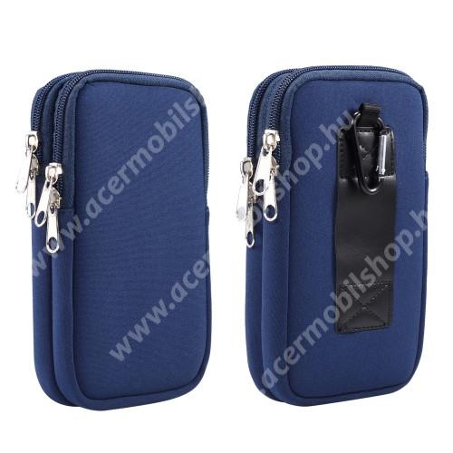 ACER Liquid Z3 UNIVERZÁLIS tok / táska - KÉK - neoprén szövet, övre fűzhető, cseppálló, belső hálós zseb, cipzár, nyakba akasztható, két fakkos, karabiner - 170 x 105 x 20mm