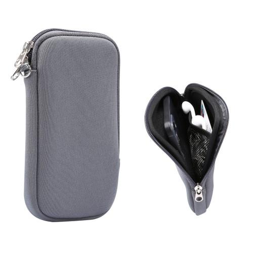 UNIVERZÁLIS tok / táska - SZÜRKE - neoprén szövet, cseppálló, hálós zseb, cipzár, nyakba akasztható - belső méret: 155 x 80 x 18 mm
