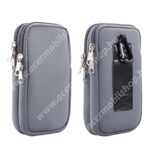 ACER Liquid Z3 UNIVERZÁLIS tok / táska - SZÜRKE - neoprén szövet, övre fűzhető, cseppálló, belső hálós zseb, cipzár, nyakba akasztható, két fakkos, karabiner - 170 x 105 x 20mm