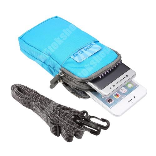 Elephone P3000 UNIVERZÁLIS tok - VILÁGOSKÉK - álló, cipzár, több fakkos, karabíner, övre fűzhető, heveder - 165 x 90 x 30 mm