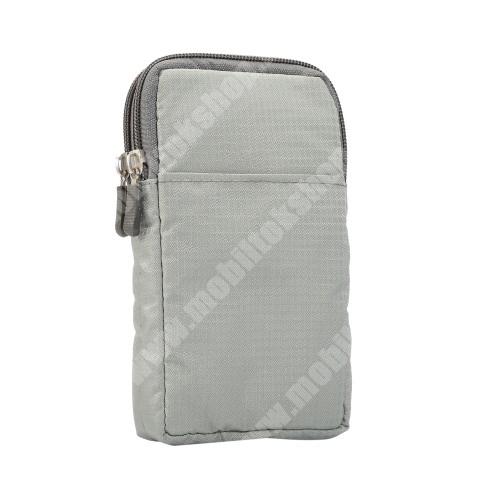 """APPLE iPhone XS Max UNIVERZÁLIS tok - VILÁGOSSZÜRKE - álló, zipzár, több fakkos, karabíner, övre fűzhető, hevederrel - 180 x 100 x 35 mm - 6,3-6,9""""-os készülékekhez"""