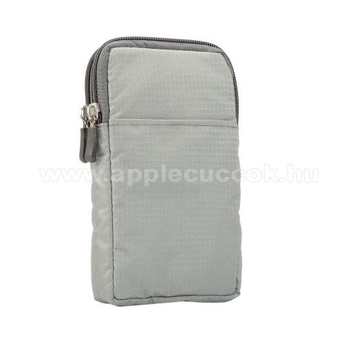 APPLE iPhone XS MaxUNIVERZÁLIS tok - VILÁGOSSZÜRKE - álló, zipzár, több fakkos, karabíner, övre fűzhető, hevederrel - 180 x 100 x 35 mm - 6,3-6,9