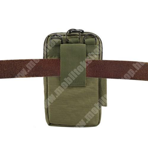 ALCATEL A30 UNIVERZÁLIS tok - ZÖLD - álló, zipzár, több fakkos, vízálló, párnázott belső, vállpánt, karabíner, övre fűzhető - 110 x 185 x 30 mm