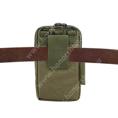 UNIVERZÁLIS tok - ZÖLD - álló, zipzár, több fakkos, vízálló, párnázott belső, vállpánt, karabíner, övre fűzhető - 110 x 185 x 30 mm