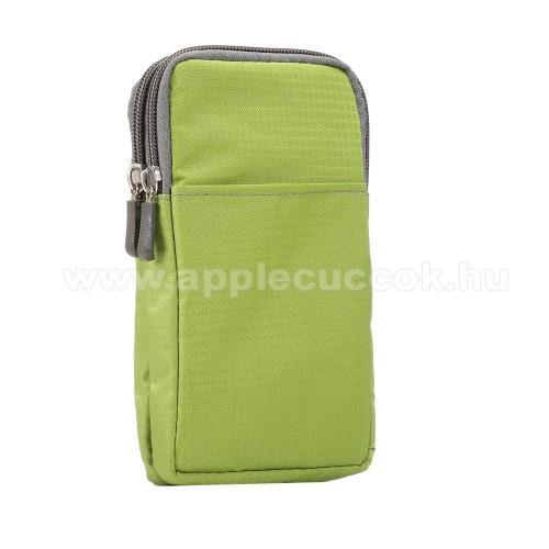 APPLE iPhone XS MaxUNIVERZÁLIS tok - ZÖLD - álló, zipzár, több fakkos, karabíner, övre fűzhető, hevederrel - 180 x 100 x 35 mm - 6,3-6,9