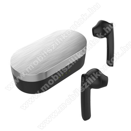 UNIVERZÁLIS TWS SZTEREO BLUETOOTH HEADSET - v5.0+EDR, érintéssel vezérelhető, mikrofon, zajszűrő, 2-3 óra zenehallgatási idő, támogatja az fülhallgató külön használatát, 300mAh töltőtok - FEKETE