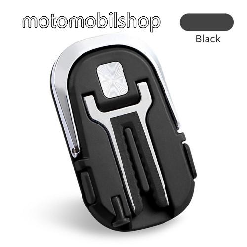 MOTOROLA Moto E6 Play (XT2029) UNIVERZÁLIS ujjtámasz, gyűrű tartó - Biztos fogás készülékéhez, kivehető SIM tű, 360°-ban forgatható, szellőzőrácsra rögzíthető, Lightning / Type-C porvédő kupak - FEKETE - 33 x 56 x 6,5 mm