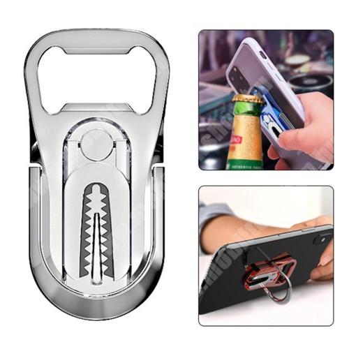 PRESTIGIO MultiPad 8.0 PRO DUO UNIVERZÁLIS ujjtámasz, gyűrű tartó, sörnyitó - Biztos fogás készülékéhez, alumínium, üvegnyitó, 360°-ban forgatható, kitámasztható, szellőzőrácsra rögzíthető - EZÜST - 64 x 27 x 4.5mm