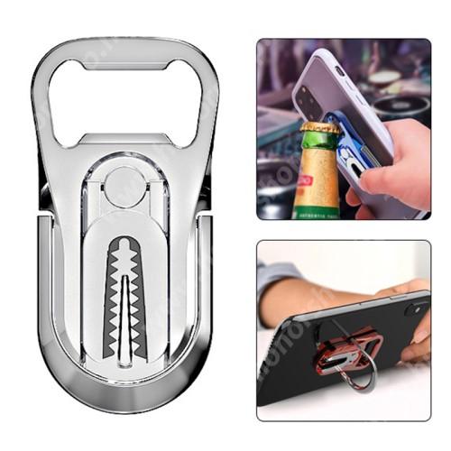 HUAWEI Honor V40 5G UNIVERZÁLIS ujjtámasz, gyűrű tartó, sörnyitó - Biztos fogás készülékéhez, alumínium, üvegnyitó, 360°-ban forgatható, kitámasztható, szellőzőrácsra rögzíthető - EZÜST - 64 x 27 x 4.5mm