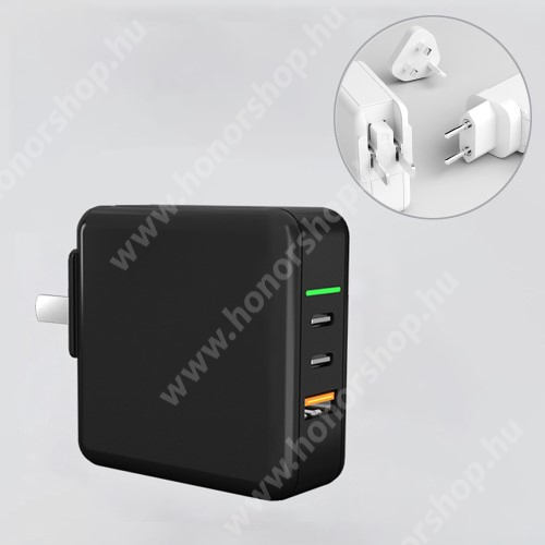 HUAWEI Honor V40 5G UNIVERZÁLIS US UK EU 3 in 1 utazó töltő / hálózati töltő - 1db USB aljzat, 2db Type-C aljzat, GaN, 65W, PD gyorstöltés támogatás, 5V/3A; 7V/3A; 9V/3A; 12V/3A; 15V/3.25A; 20V/3.25A  - FEKETE