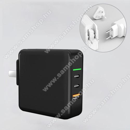 UNIVERZÁLIS US UK EU 3 in 1 utazó töltő / hálózati töltő - 1db USB aljzat, 2db Type-C aljzat, GaN, 65W, PD gyorstöltés támogatás, 5V/3A; 7V/3A; 9V/3A; 12V/3A; 15V/3.25A; 20V/3.25A  - FEKETE