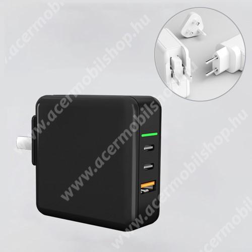 ACER Iconia Tab 8 A1-840FHD UNIVERZÁLIS US UK EU 3 in 1 utazó töltő / hálózati töltő - 1db USB aljzat, 2db Type-C aljzat, GaN, 65W, PD gyorstöltés támogatás, 5V/3A; 7V/3A; 9V/3A; 12V/3A; 15V/3.25A; 20V/3.25A  - FEKETE