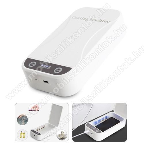 UNIVERZÁLIS UV mobiltelefon sterilizátor / fertőtlenítő - akár 99,9% -os sterilizálás, 5V, UV 2x 1W, max. működési teljesítmény 9W, külső méret: 218 x 123 x 53 mm, belső méret: 180 x 100 x 22 mm, maximum 6,5