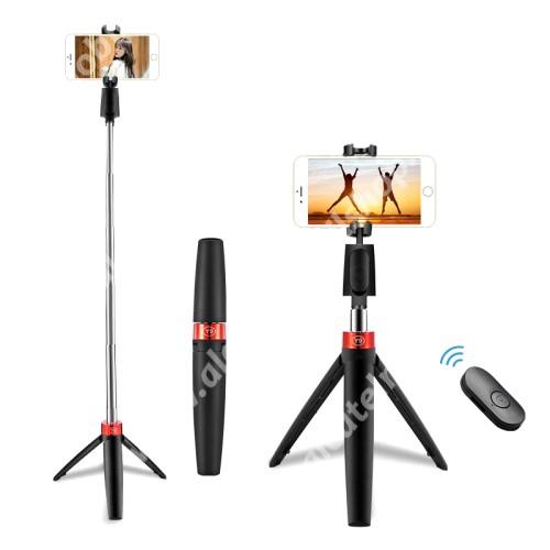 UNIVERZÁLIS Y9 teleszkópos selfie bot és tripod állvány - BLUETOOTH KIOLDÓVAL, kihúzható, 360 fokban forgatható, 60-80mm-ig nyíló bölcső - FEKETE
