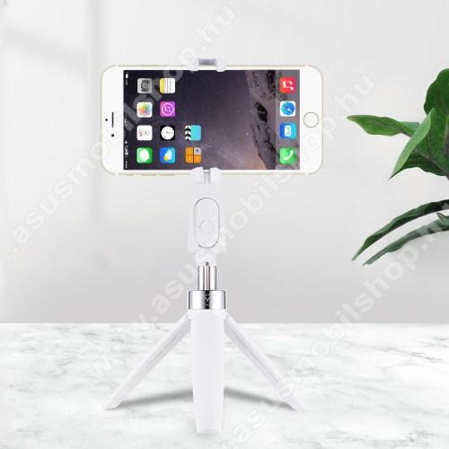 UNIVERZÁLIS Y9 teleszkópos selfie bot és tripod állvány - BLUETOOTH KIOLDÓVAL, kihúzható, 360 fokban forgatható, 60-80mm-ig nyíló bölcső - FEHÉR