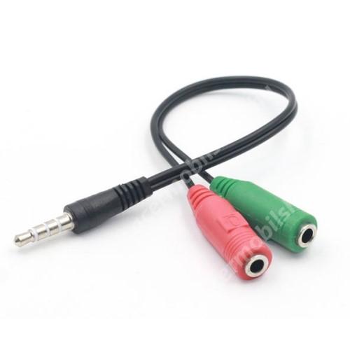 ACER Liquid Z3 UNIVERZLIS 3.5mm Jack adapter / elosztó - FEKETE