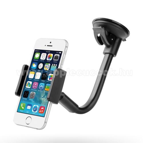 APPLE iPhone 3GSUPERGO LP-3A univerzális autós / gépkocsi tartó - FEKETE - tapadókorongos, 60-85 mm-ig állítható bölcső, elforgatható, flexibilis tartókar