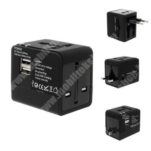 ACER Liquid Jade (S55) US UK EU AU 4 in 1 utazó töltő / hálózati töltő - 1db USB aljzat, 5V/1000mAh - FEKETE