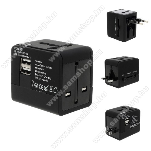 SAMSUNG GT-M8910 PixonUS UK EU AU 4 in 1 utazó töltő / hálózati töltő - 1db USB aljzat, 5V/1000mAh - FEKETE