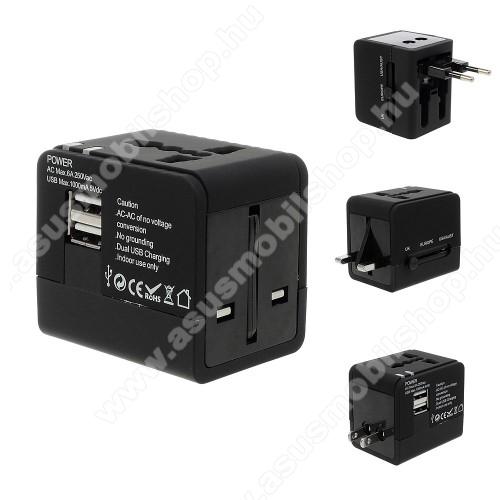 ASUS Zenfone 2 Laser (ZE500KL)US UK EU AU 4 in 1 utazó töltő / hálózati töltő - 1db USB aljzat, 5V/1000mAh - FEKETE