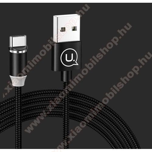 Xiaomi Mi True Wireless Earphones 2SUSAMS adatátviteli kábel / USB töltő - mágneses, USB 3.1 Type C, 1m, 2.1A, szövettel bevont, CSAK TÖLTÉSRE ALKALMAS ADATÁTVITELRE NEM! - FEKETE - US-SJ293 - GYÁRI