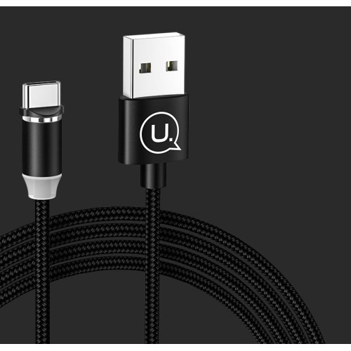 USAMS adatátviteli kábel / USB töltő - mágneses, USB 3.1 Type C, 1m, 2.1A, szövettel bevont, CSAK TÖLTÉSRE ALKALMAS ADATÁTVITELRE NEM! - FEKETE - US-SJ293 - GYÁRI