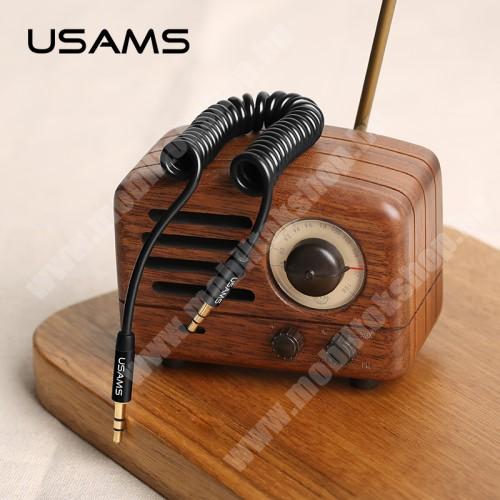 USAMS audió kábel 2 x 3.5 mm jack csatlakozó, 30-120cm-ig kihúzható, spirálkábel, AUX - FEKETE - US-SJ256 - GYÁRI