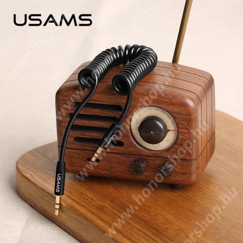 HUAWEI Honor V40 5G USAMS audió kábel 2 x 3.5 mm jack csatlakozó, 30-120cm-ig kihúzható, spirálkábel, AUX - FEKETE - US-SJ256 - GYÁRI