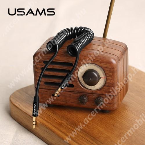 ACER Liquid Z110USAMS audió kábel 2 x 3.5 mm jack csatlakozó, 30-120cm-ig kihúzható, spirálkábel, AUX - FEKETE - US-SJ256 - GYÁRI