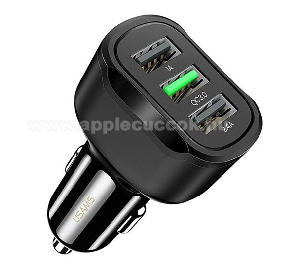USAMS autós töltő 1x USB aljzat (5V / 3400mA, 18W, gyorstöltés támogatás) - FEKETE - CC100_W - GYÁRI