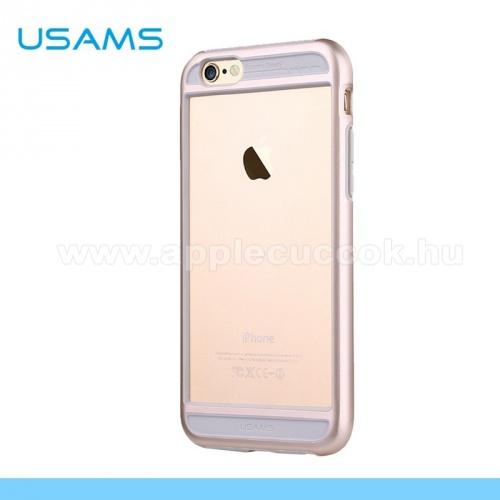 APPLE iPhone 6USAMS BESCON m?anyag v�d? keret - BUMPER - szilikon bet�tes - ARANY - APPLE iPhone 6 - GY�RI