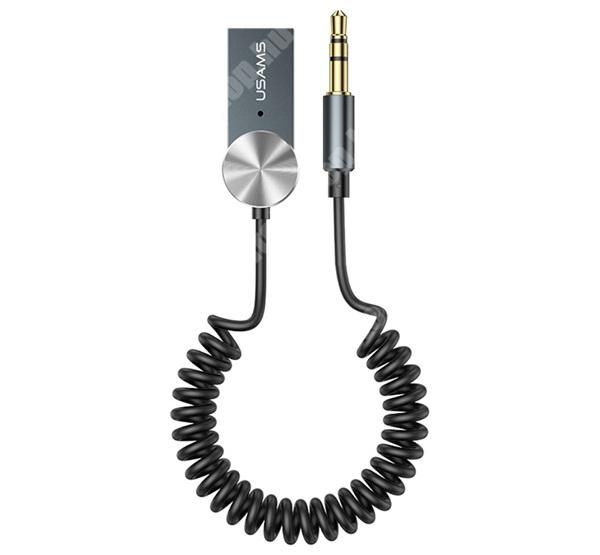 HomTom H17 Pro USAMS Bluetooth audio transmitter / adapter - USB csatlakozó, v5.0 + EDR, 3.5mm jack, Android, IOS támogatás, spirál kábel - SZÜRKE - SJ464_B - GYÁRI