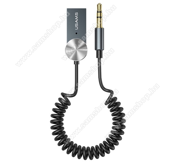 USAMS Bluetooth audio transmitter / adapter - USB csatlakozó, v5.0 + EDR, 3.5mm jack, Android, IOS támogatás, spirál kábel - SZÜRKE - SJ464_B - GYÁRI