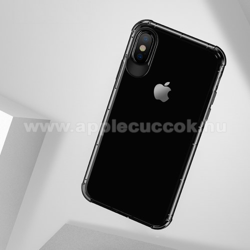 USAMS Drop-proof szilikon védő tok / hátlap - FEKETE - ERŐS VÉDELEM! - APPLE iPhone X / APPLE iPhone XS - GYÁRI