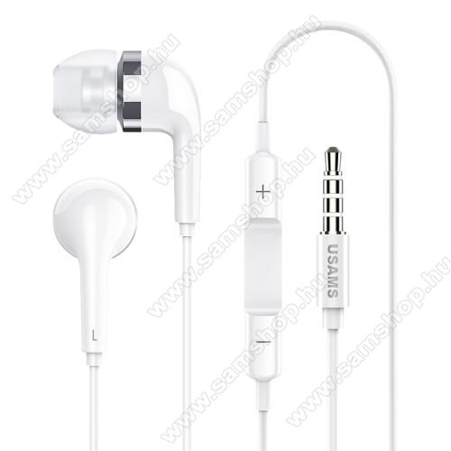 SAMSUNG Galaxy Tab 2 10.1 (P5100)USAMS EP-23 james bond sztereo headset - 3.5 mm jack, mikrofon, felvevő gomb, hangerőszabályzó - FEHÉR